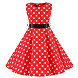 Livoral Baby Madchen Kleidung Set Kinder Teen Kinder Mädchen Vintage 1950er Jahre Retro ärmellose Dot Print lässige Kleidung(Rot,Large)