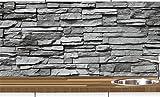 KLINOO Küchenrückwand in Steinoptik als Spritzschutz - Wandschutz - alle Untergründe (verdeckt Fugen) - zuschneidbar/erweiterbar - geruchsneutral - wiederablösbar - 96cm x 68cm (Naturstein grau)