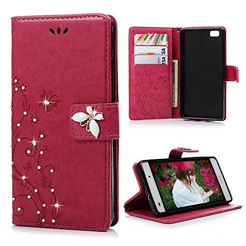 maviss-diary-huawei-p8-lite-rosa-rosso-cover-glitter-bling-3d-diy-diamonte-fatto-a-mano-retro-fiore-