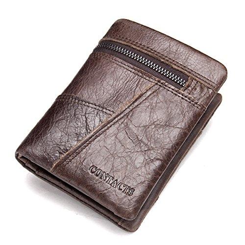 Contatti Best da uomo in vera pelle sottile Bifold portafoglio portamonete con tasca zip Pocekt Marrone Brown taglia unica