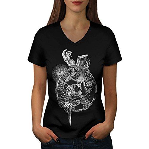 Schädel Schlange Tod Gote Women M V-Ausschnitt T-Shirt | Wellcoda