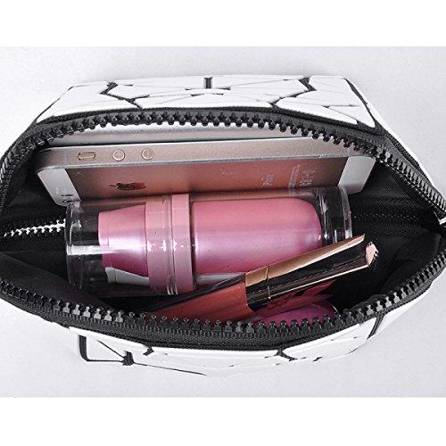 FZHLY Cosmetic Bag Lingge Nuova Signora Geometrica Matte Sacchetto Piegante,Gold Black