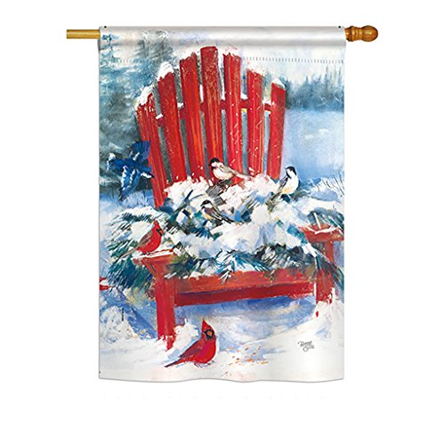 Breeze Decor h114193 Rot Stuhl in Winter Vertikal House Flagge, 71,1 x 101,6 cm Zoll, Mehrfarbig -