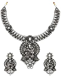 Zaveri Pearls Antique Lord Ganesha Temple Necklace Set For Women-ZPFK6308