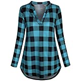 Tops SANFASHION Damen Blusen Split V-Ausschnitt Langarm Casual Roll-up Plaid Tunika T Shirt Streetwear