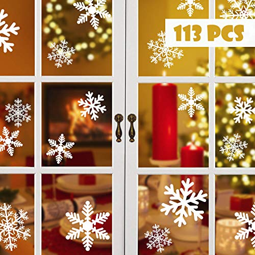Blooven Schneeflocken Fensterbild für Winter und Weihnachten Fensterdeko Set Statisch PVC Aufkleber Winter Dekoration (113 Stück)