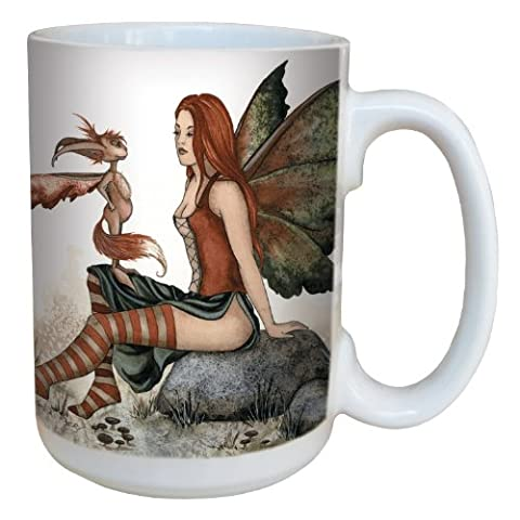 Tree-Free Greetings lm43556 15 oz Fantasy Wizzle Meets a Fairy Ceramic Mug with Full Sized Handle