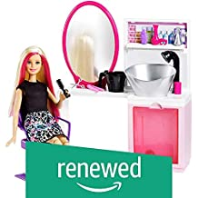 (Renewed) Barbie Sparkle Style Salon and Blonde Doll Playset, Multi Color