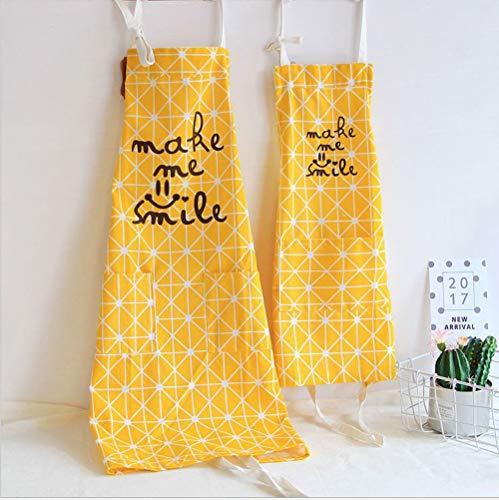 JameStyle26 Mama Kind Schürze aus Baumwolle & Leinen Damen Küchenschürze Latzschürze Kochschürze mit Tasche Kochen Backen Smile Smiley Love Karo (Mama Kind Set Gelb)