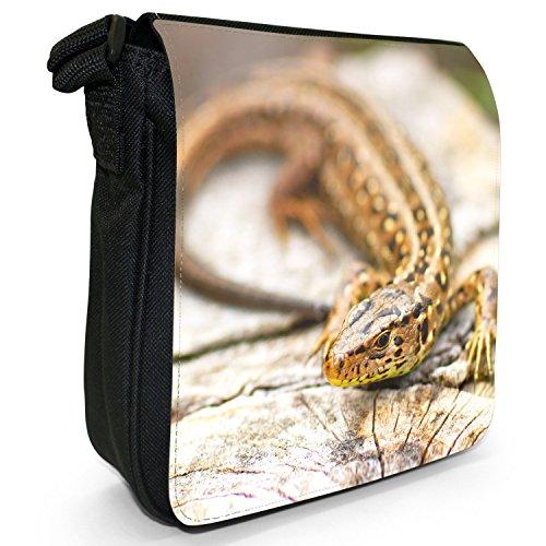 Lucertole Del Mondo piccolo nero Tela Borsa a tracolla, taglia S Speckled Black Lizard On Wood
