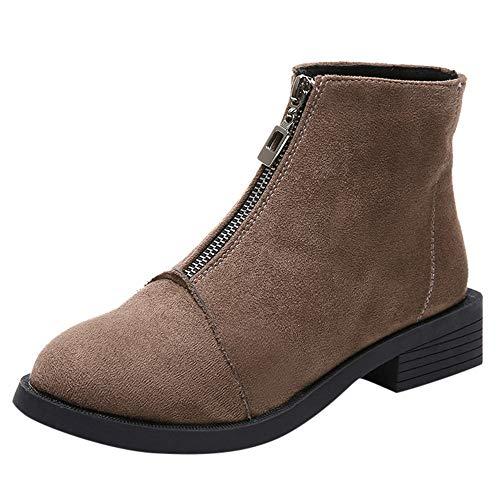 S&H-NEEDRA Frauen Platz Ferse Schuhe Martain Stiefel Wildleder Zipper Volltonfarbe Runde Zehe Schuhe