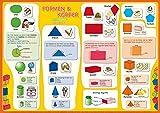 mindmemo Lernposter - Formen & Körper - Das Geometrie Poster Grundschule spielend Mathe lernen mit Bildern für Kinder Lernhilfe Poster DIN A2 42 x 59 cm PremiumEdition in Transportrolle