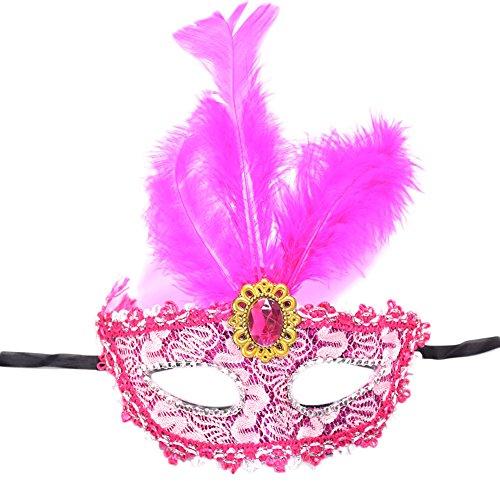 Elegant Spitze Damen Maske für Cosplay Venezianischen Halloween Costume Party Maske Maskerade Rose Rot ()