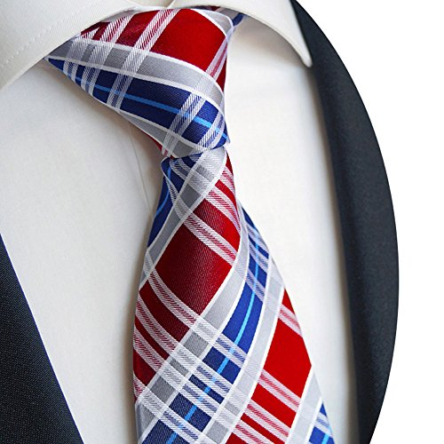 Beytnur Herren Krawatte aus Seiden Kariert Rot Blau Model Nr. K 243.1