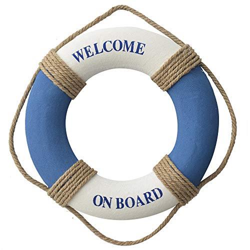 Salvavidas Decoracion Marinera, para Colgar en Pared, Welcome on Board, Azul y Blanco, 38cm - Hogar y Más