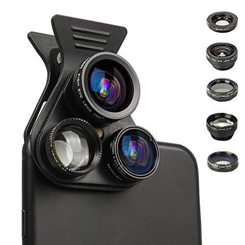 JZWDMD Clip-on Handy Objektiv Set,Universal HD Handy Kamera Lens Kit mit 2,5-fache Vergrößerungslinse + 0,63-Fach-Super-Weitwinkelobjektiv + 15-Fach-Makrolinse + 180-Grad-Fischaugenlinse + CPL - Starburst-objektiv