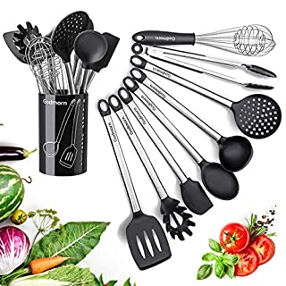 Godmorn Silicone Kitchen Utensil Sets 9 Pcs Stainless Steel Cooking Utensil Set with Plastic Holder, Heat Resistant and Nonstick Cooking Gadgets Tool black