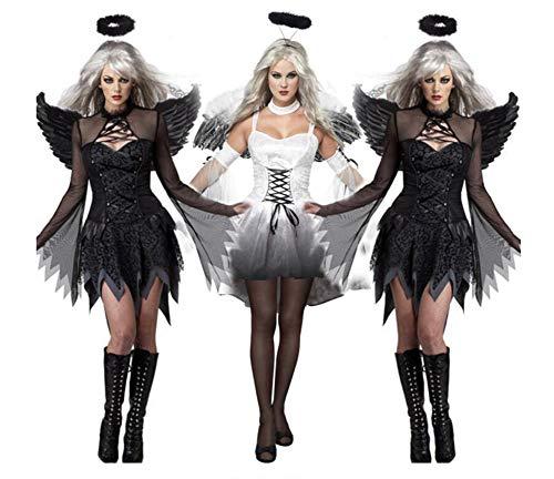 (QIONGQIONG Halloween Dark Angel Kleid Kostüme Uniform Spiel Zombie Dress Weibliche Geister Braut Teufel Pack Weiß/Schwarz)