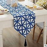 Geometrische Tischläufer Tabelle Flagge Rhombus Dreieck Tischdecke Für TV Schrank Küche Wohnzimmer Bar Coffee Shop 78 Zoll,Blue