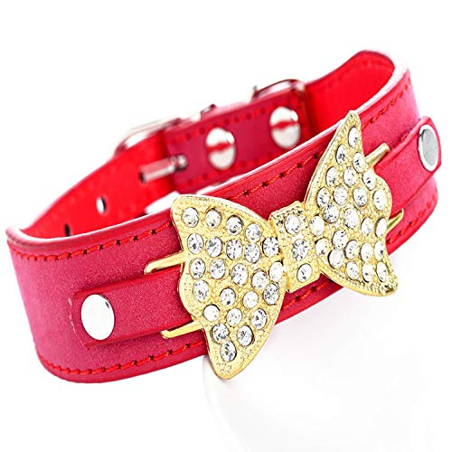 Cool-House-UK Strass Bow Hundehalsband Schlange Goldschmetterlings-Hundehalsband Pu Hundeketten Hundehalsband Katzenhalsband, Reich Velvet + Gold Butterfly: Rot, Rich-Cashmere: M 42 * 2.5cm -