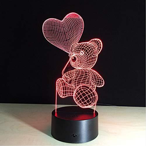 (Hlfymx 3D Touch Nachtlicht Led Herz Ballon Bär Lampe Kinder Schlafzimmer Nacht Nachtlicht Kinder Geschenk Home 7Decor Drop)