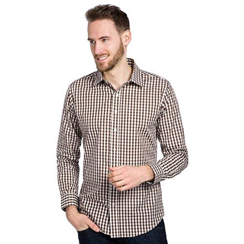 Allbow camicia quadretti uomo marrone bianco, regular fit, manica lunga