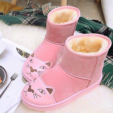 RTRY Scarpe donna pu Fall Winter Snow Boots stivali tacco piatto rotondo Mid-Calf Toe stivali per Casual arrossendo rosa grigio nero US8.5 / EU39 / UK6.5 / CN40