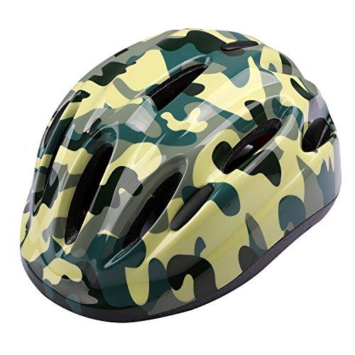 ICOCOPRO Helme für Kinder, Fahrradhelm, Kinder, Sicherheit und Komfort, Mädchen und Jungen, Geschenk, Vier Farben (Olive-grün,Camouflage,rosa, Leuchtend- grün)