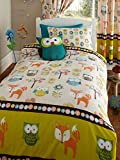 Woodland Creatures Junior Toddler Bed Size Duvet Cover & Pillowcase Set - Owls & Foxes