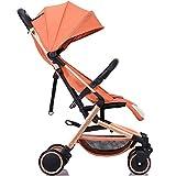 ADZPAB Kinderwagen tragbare leichte faltende einfachen Regenschirm kann sitzen stützen Baby Kinder Vier Jahreszeiten Universal Trolley können auf dem Flugzeug (Farbe : GoldTube(Orange))