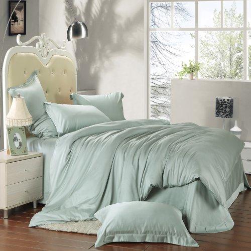 SERISIMPLE Tencel Faser Lyocell 4Stück Bettbezug Sets Tröster Kühlung Faser für Naked Sleep und Luxuriösen Komfort Full Jade -