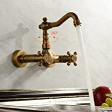 de inspiración antigua, grifo de la cocina - montaje en pared (acabado latón antiguo)