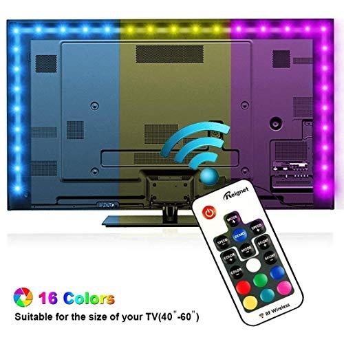 Retroilluminazione TV LED, Reignet da 2m luci polarizzate RGB per HDTV da 40-60 pollici, Striscia luminosa LED alimentata USB con telecomando RF per TV e PC a schermo piatto.