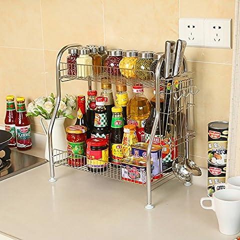 Gewürzregal Küche Regal Edelstahl Gewürze Küchenzubehör Regale 2 Ebenen Boden Multifunktions Küche Finishing Rack