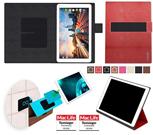 reboon Hülle für Archos 101 Helium 4G Tasche Cover Case Bumper | in Rot Leder | Testsieger