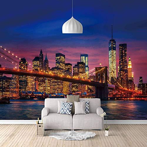 Foto Wallpape Neonlichter der Stadt 3D Vision Wandposter Für Schlafzimmer Wohnzimmer Küchen Wandkunst Dekoration Poster 300x210cm