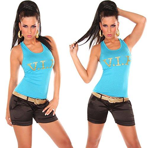In-Stylefashion - Débardeur - Femme Marron Marron Taille unique Turquoise - Turquoise