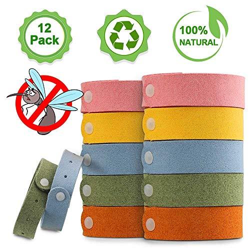 Nasharia Mückenschutz Armband - Sicheres und Wasserdichtes, 12 Stück Reusable Repellent Wristband für Indoor, Outdoor, Kinder, Erwachsene.