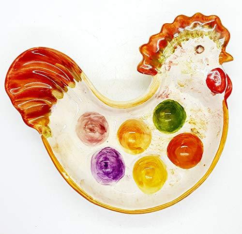 Piatto gallina portauova pasquale ceramica realizzato e decorato a mano le ceramiche del castello nina palomba made in italy dimensioni 22,5 x 16 centimetri