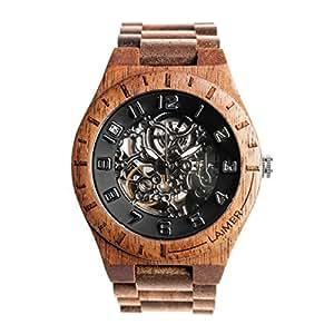Laimer orologio in legno con meccanismo automatico for Orologio legno amazon