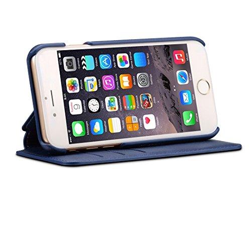 Für iPhone 6 & 6s Rindsleder Textur Horizontale Flip Stand Leder Tasche mit Halter & Crad Slots & Wallet by diebelleu ( Color : Red ) Dark blue