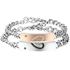 Idea Regalo - Cupimatch Coppia Lovers Braccialetto Bracciale Acciaio Inox Puzzle Cuore Mosaico zircone with Wish Love And Happiness Argento Oro(1 Coppia)