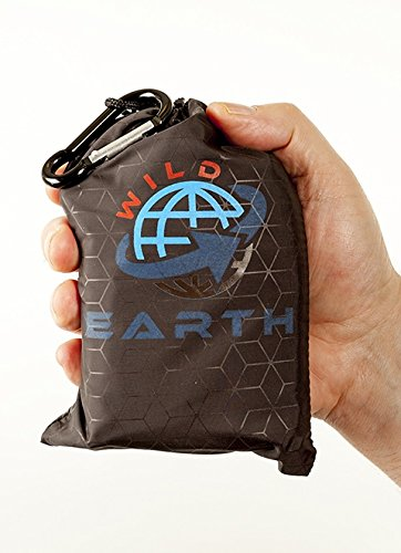 "WILD EARTH ultra light weight pocket beach blanket travel mat festival camping groundsheet concerts picnics in the park yoga and all outdoor activities. Parachute silk compact portable and foldable. 100% water proof and sand proof. 170cm x 120cm or 67"" x 47"". Made of 300T Ripstop nylon the best quality most advanced puncture resistant on the market. Mountaineering trekking or a family day out in the park carry it with you all the time. Designed in England and continually tested by us."