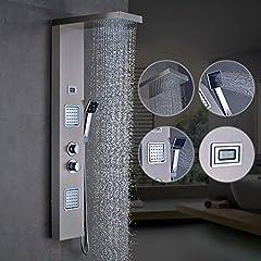 Idea Regalo - Auralum® Pannello colonna doccia idromassaggio in acciaio 4 funzioni set doccia completo con Soffioni doccia + ABS doccia a mano soffione (Acciaio inoX)
