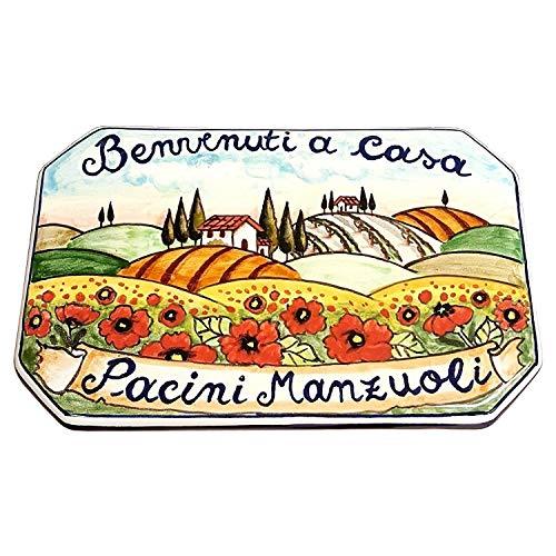 Ceramiche d'arte parrini- ceramica italiana artistica,numero civico in ceramica 20x13,numeri civici, personalizzato decorazione paesaggio toscano, fatta a mano made in italy toscana