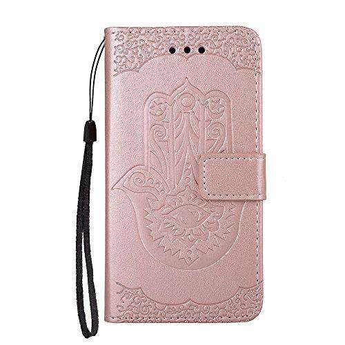 EKINHUI Case Cover Geprägte Palmenblumenmuster Retro PU-Leder-Mappen-Beutel-Kasten-Abdeckung mit Kartenschlitzen und Lanyard für Huawei Hornor 8 ( Color : Gold ) Rosegold