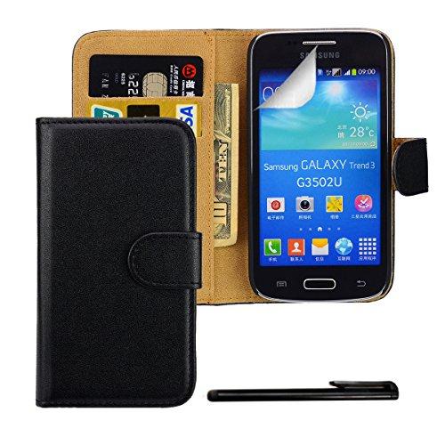 4in1 PREMIUM Wallet in Schwarz für - Samsung Galaxy Core Plus G3500 / G3502 (SM-G350) - Kunstleder Handy Tasche Brieftasche Hülle mit Magnetverschluss und Standfunktion + 1x Displayfolie + 1x Touchpen