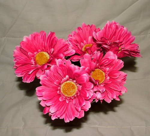 6-x-artificial-single-stem-hot-pink-gerbera-with-big-bloom-very-dramatic-home-garden