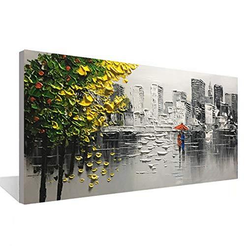 Rincr Moderne abstrakte Innenschlafzimmerdekorations-Malerei Kunst auf der Wand des handgemalten Ölgemäldes der städtischen Architektur 100%