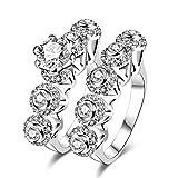 AMDXD Doppelring Set Versilbert Ring Damen Zirkonia Runde Kreis Blume Ehering Silber Größe 54
